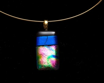 Fused glass pendant, dichroic glass pendant, glass jewelry, handmade, one of a kind, multicolor pendant