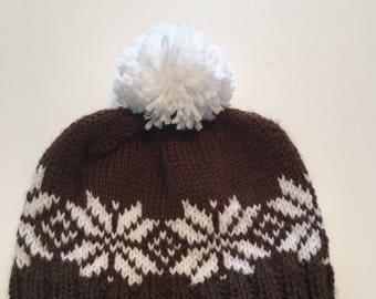 """Newborn Hand Knit """"Fair Isle"""" style beanie hat"""