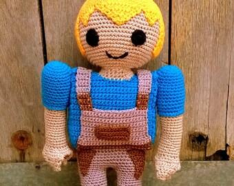 Pattern Playmobil amigurumi. By Caloca Crochet.