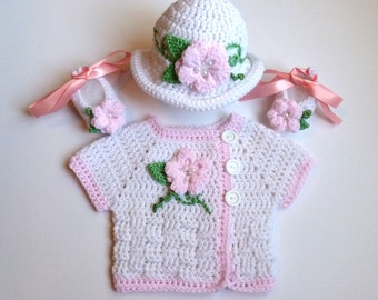 Baby Girl, Crochet,White Short Sleeve Sweater with Pink Trim, Hat, and Ballerina Slippers Set, **SPECIAL ORDER ONLY**