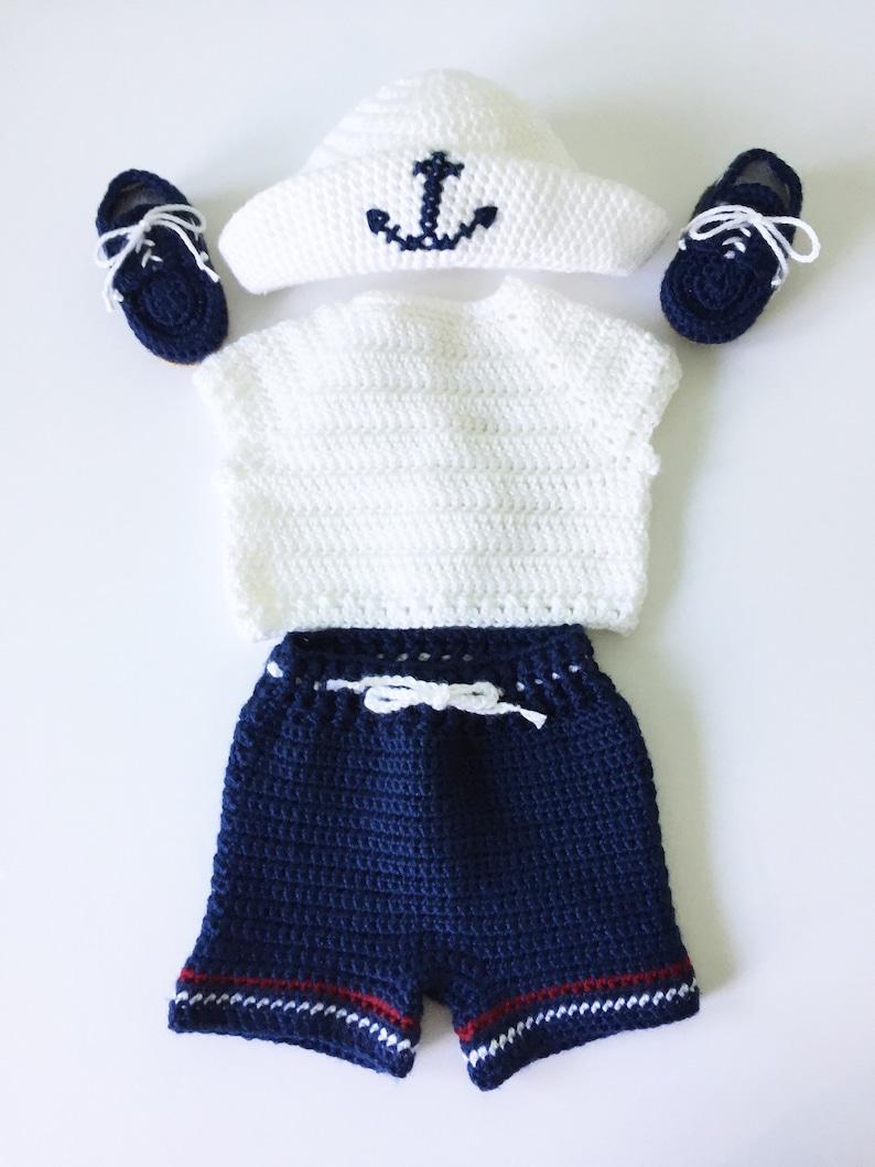 fb18186e7cb8 Crocheted Baby Boy Sailor Set T-Shirt Shorts Diaper Cover