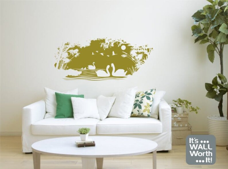 swans in the lake silhouette vinyl wall decal nature scene   etsy