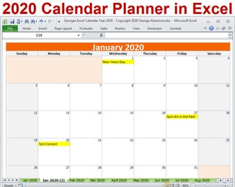 2020 calendar year planner excel template 2020 monthly planner calendars year 2020 planner calendar spreadsheet digital download