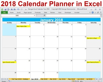 2018 calendar year printable excel template 2018 monthly calendars 2018 yearly calendar 2018 planner spreadsheet digital download