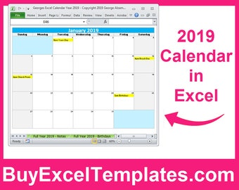 2019 Calendar Year Printable Planner Excel Templates 2019 Etsy