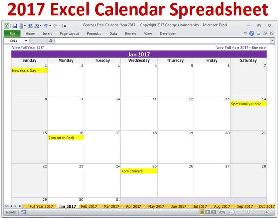 2017 Excel Calendar Template 2017 Monthly Calendar And 2017 Etsy