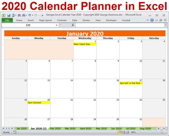 2020 Calendar Year Planner Excel Template 2020 Monthly Etsy