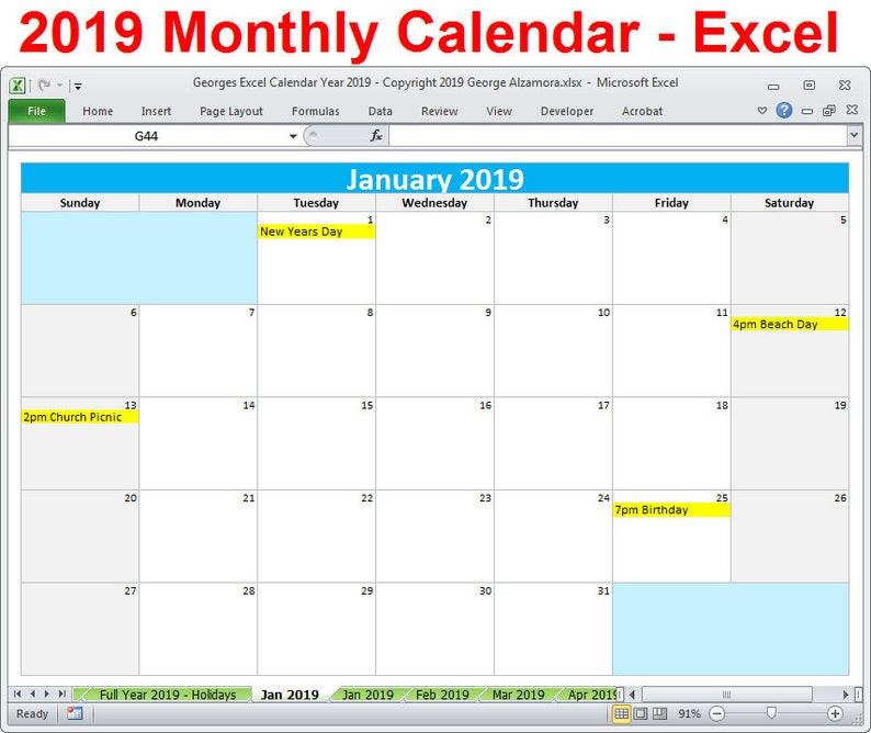 Calendar Excel.2019 Calendar Year Printable Planner Excel Templates 2019 Monthly Calendars Year 2019 Editable Calendar Spreadsheet Digital Download