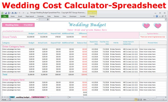 Wedding Budget Cost Calculator Excel Spreadsheet Template Etsy