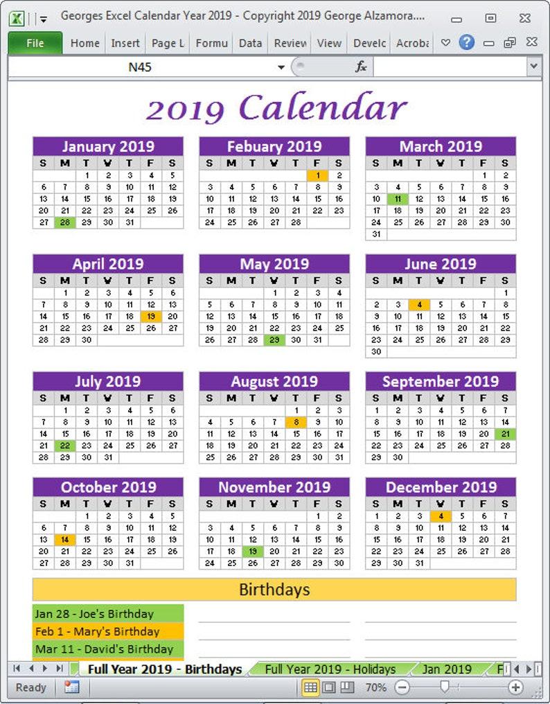 Calendario Ottobre 2020 Excel.Modelli Excel Di 2019 Calendario Anno Stampabile Planner 2019 Mensile Calendari Anno 2019 Calendario Modificabile Foglio Di Calcolo Download