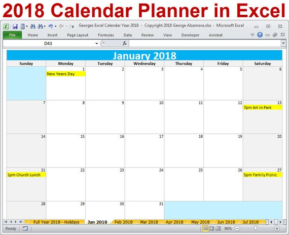 yearly calendar excel template