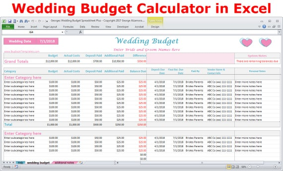 Wedding Budget Cost Calculator Excel Spreadsheet Template Wedding On A Budget Planner Excel Wedding Expenses Worksheet Digital Download