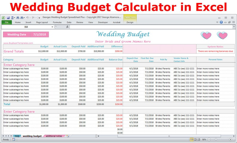 Wedding Planner Cost.Wedding Budget Cost Calculator Excel Spreadsheet Template Wedding On A Budget Planner Excel Wedding Expenses Worksheet Digital Download
