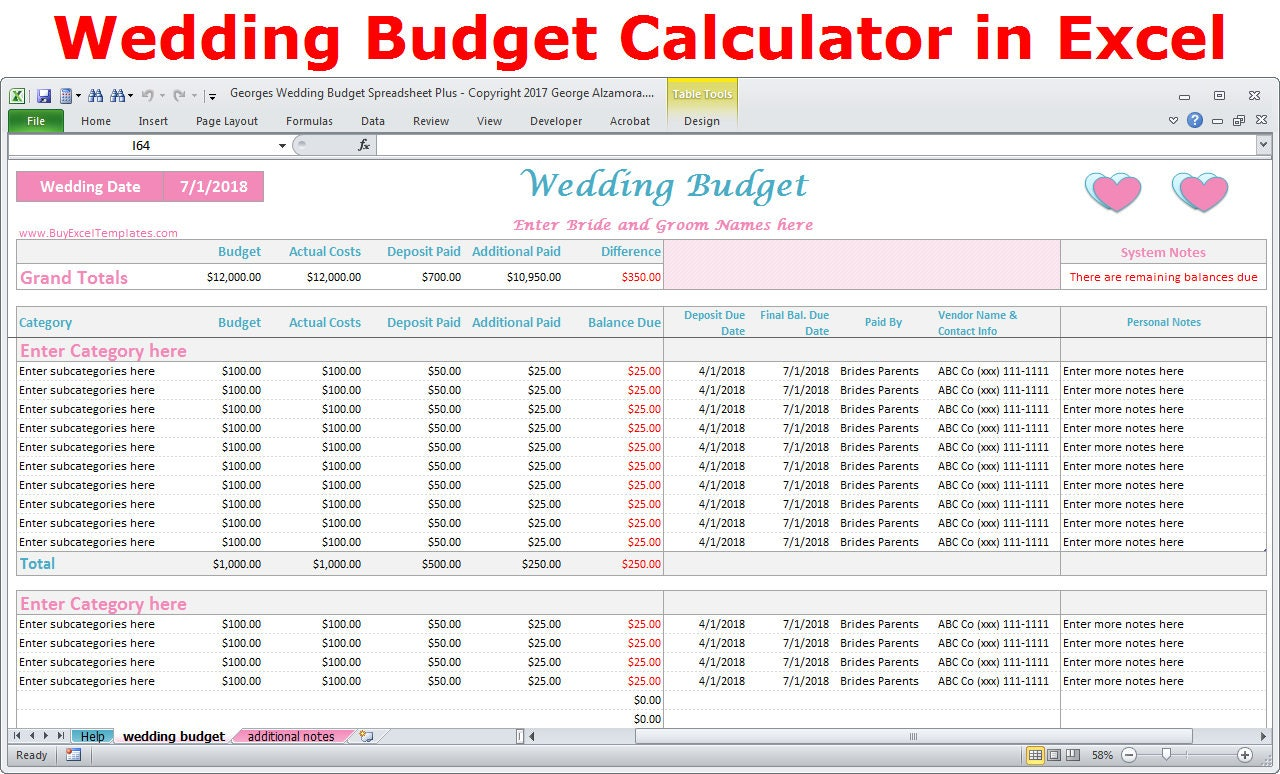 Wedding Budget Cost Calculator Excel Spreadsheet Template | Etsy