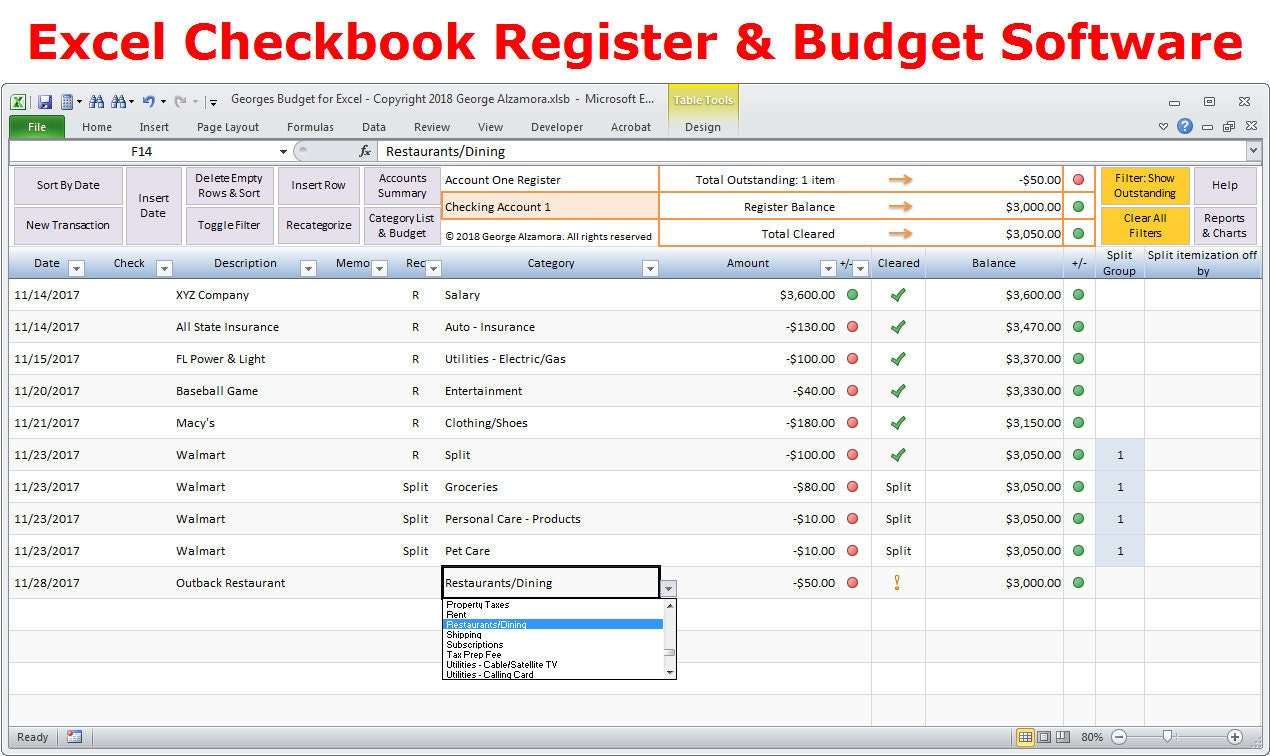 Excel budget spreadsheet template and checkbook register | Etsy