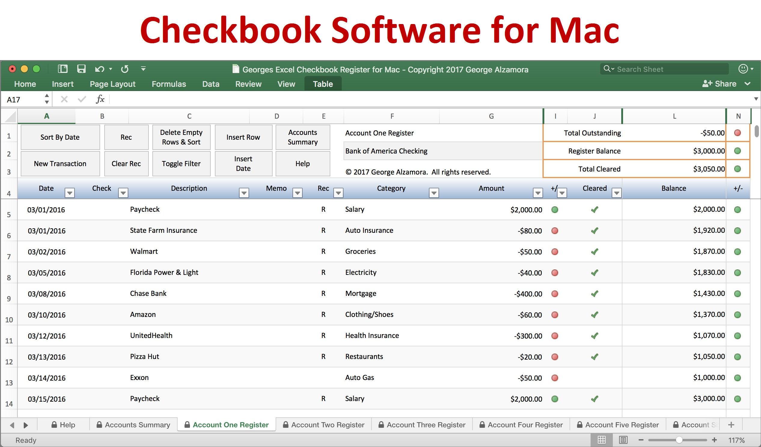 Checkbook Register for Mac Excel Checkbook Spreadsheet