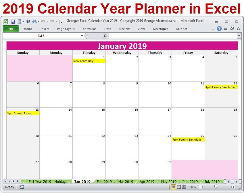 2019 Calendar Year Printable Planner Excel Templates Etsy