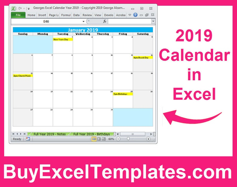 Printable 2019 Calendar Excel Templates - 2019 One Page Full Year Calendars  - 2019 Monthly Yearly Calendars Editable - Digital Download