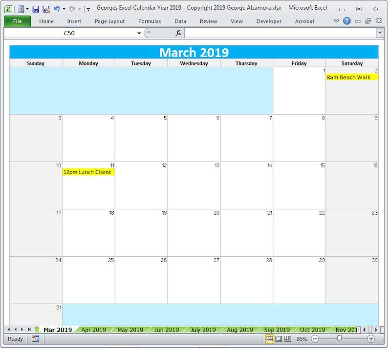 Modelli Calendario 2019.Modelli Excel Di 2019 Calendario Anno Stampabile Planner 2019 Mensile Calendari Anno 2019 Calendario Modificabile Foglio Di Calcolo Download