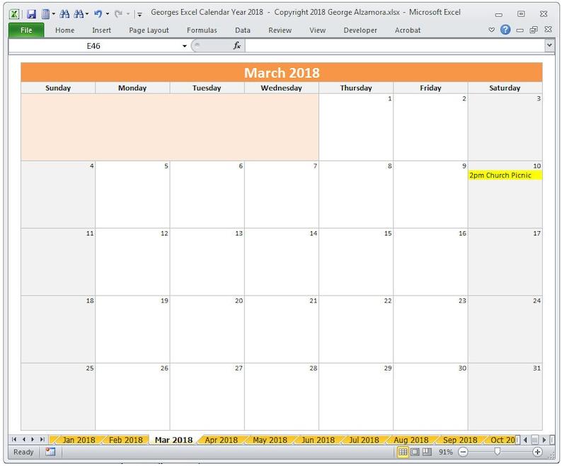 Calendario Ottobre 2020 Excel.2018 Calendario Anno Stampabile In Excel Calendari Mensili 2018 2018 Annuale Calendario 2018 Planner Foglio Di Calcolo Digital Download
