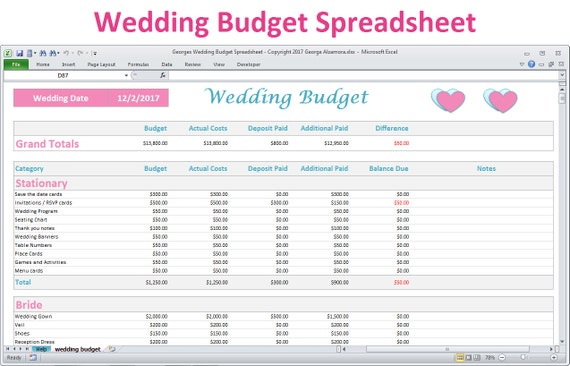 Wedding Budget Spreadsheet Planner Excel Wedding Budget Etsy
