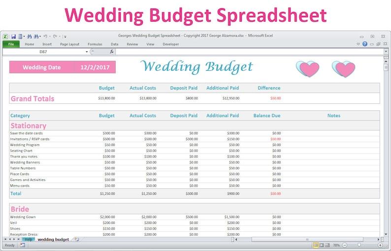 Wedding Budget Spreadsheet Planner Excel