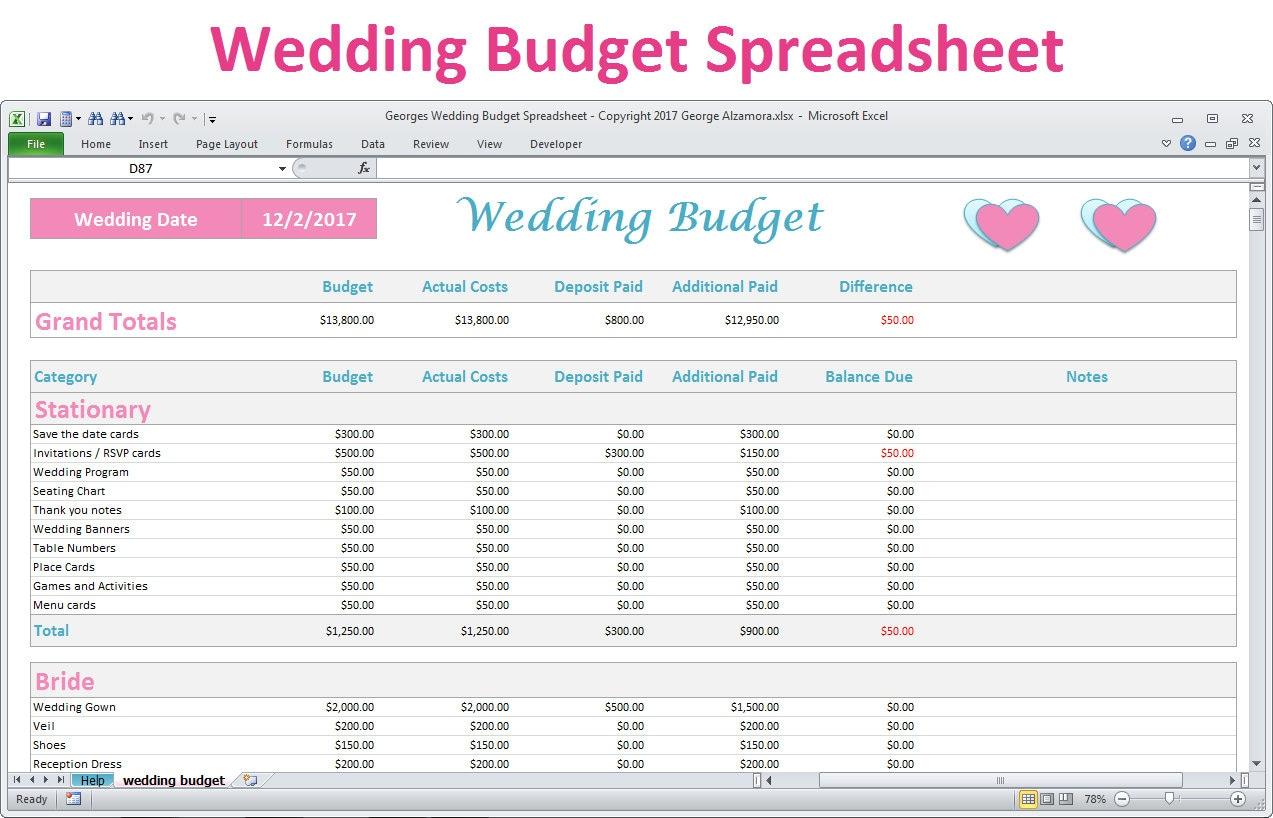 grand wedding planning checklist excel wedding budget spreadsheet
