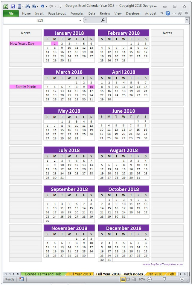 2018 Calendar Year Printable Excel Template 2018 Monthly Etsy