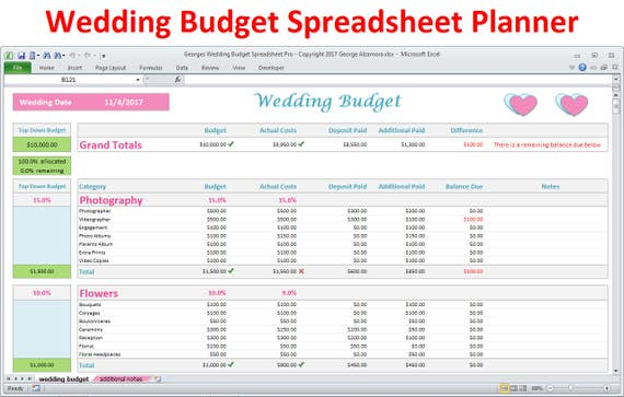 Wedding Planner Budget Template Excel Spreadsheet Wedding Budget Breakdown Wedding Budget Organizer Expenses Tracker Digital Download
