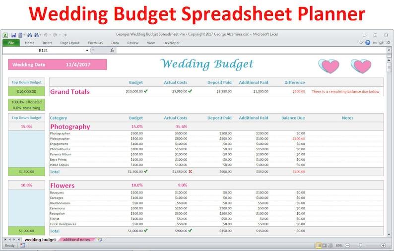 Wedding Budget Spreadsheet.Wedding Planner Budget Template Excel Spreadsheet Wedding Budget Breakdown Wedding Budget Organizer Expenses Tracker Digital Download