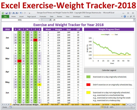 2018 fitness and weight tracker in excel year 2018 daily etsy