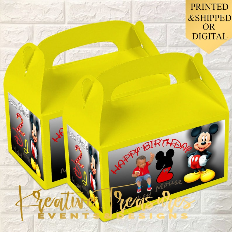 Printed -Goodie Boxes Mickey Mouse Labels Custom Gable Box Printable Mickey Favor Bags Mickey Mouse Club House Gable box