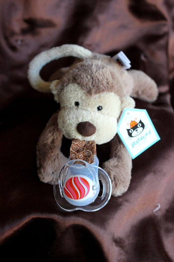 Binky Buddy Super Plushbrown Jellycat Monkey Button Etsy