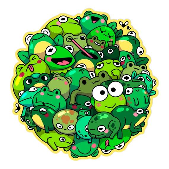 Frog Pile Matte Sticker