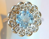 estate 14kwg fashion ring 8mm light blue topaz center w diamonds