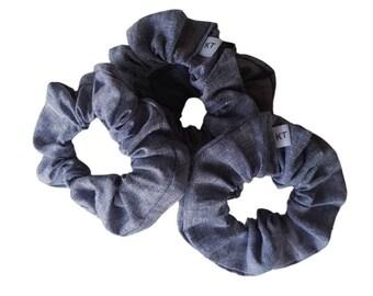 Hair Scrunchie - Hair Accessories - Linen Scrunchie - Denim