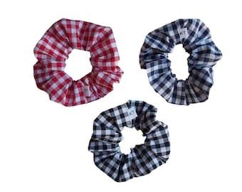 Cotton Gingham Hair Scrunchie  - Hair Accessories