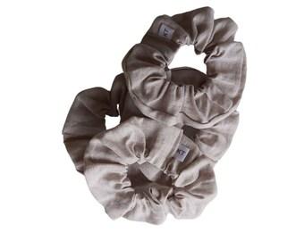 Hair Scrunchie - Hair Accessories - Linen Scrunchie - Taupe