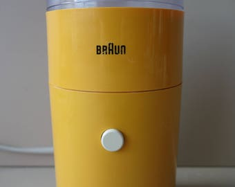 Iconic Braun Coffee Grinder Designed By Reinhold Weiss Braun West Germany  1966 Modern Design Ochre Yellow Mid Century Minimalism Electronic