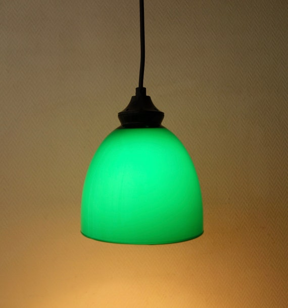 Small Vintage Pine Green Glass Pending Pendant Hanging Lamp Modern Brocante Country Style 1970s Kitchen Bathroom Light