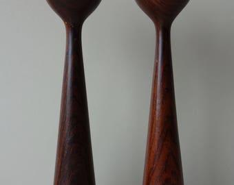 Pair of vintage African black wood blackwood Mpingo wooden candle holders mid century modern tulip shape candlestick