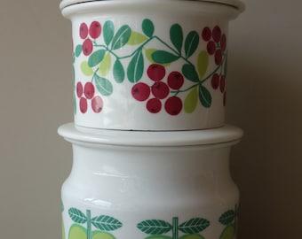 Mint condition vintage Arabia Pomona marmalade storage pot pots with lid Raija Uosikkinen ceramic green apple gooseberry rare 1960s Finland