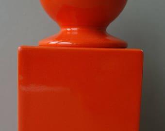 Good condition signed vintage orange Sicart Italian seventies mid century space age storage square pot jar Angelo Spagnolo ceramics
