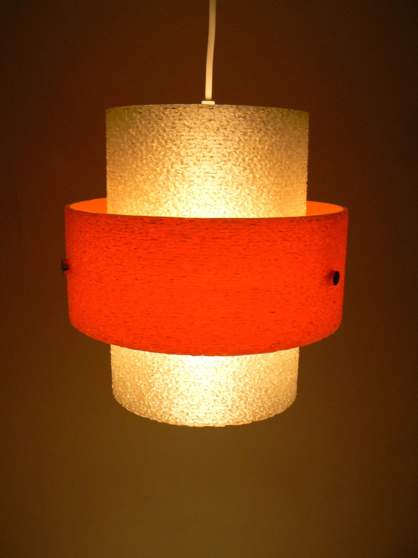 Vintage Mid Century Modern Pendant Light 1950s Fiberglass
