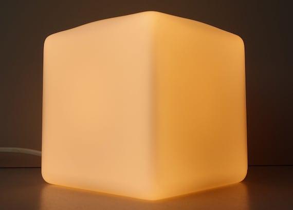 Peill & Putzler satin milk white block cube glass table desk lamp German 1980s design modernistic sober