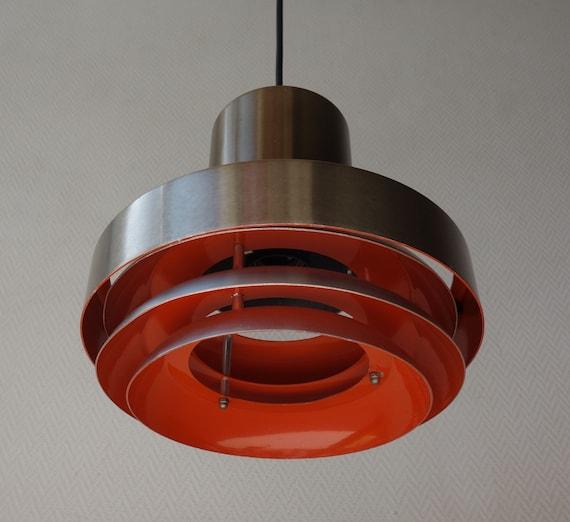 Dutch design aluminium discs lamp hanging pendant light lamp vintage mid century modern silver orange brown Lakro Amstelveen Holland