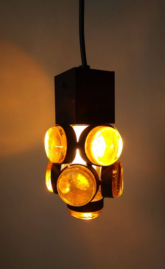 Schwedische Gusseisen Bernstein Glasprismen Hängende Lampe | Etsy