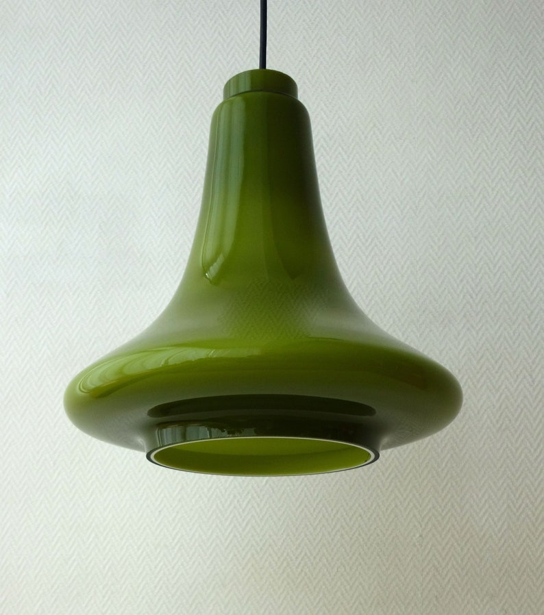 Vintage Near Mint Condition Hans Agne Jakobsson Large Green Glass Opaline Cased Pendant Light Hanging Lamp Mid Century Modern Swedish