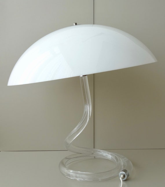Dutch Design Modern Rare Harco 1980s Large Light Acrylic Glass Mushroom Plexiglas Lucite Umbrella Xl Perspex Table Loor Lamp Mid Century lKTF1Jc3