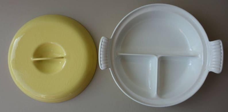 Vintage Enamel Dru Holland 1950s Fifties Mid Century Dutch Design Cast Iron Pan With Lid Oven Dish Yellow Retro Casserole